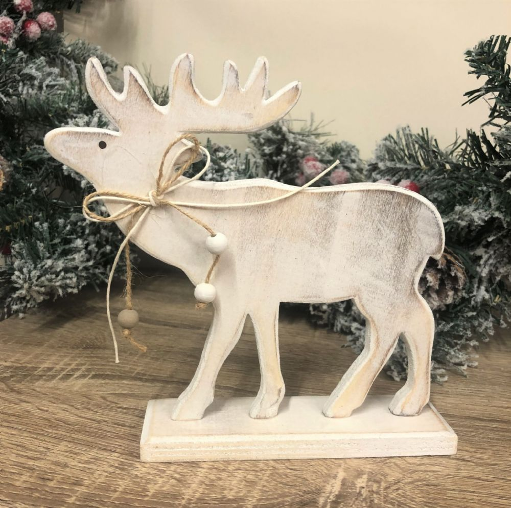 Moose Wooden Shabby Chic Winter Ornament